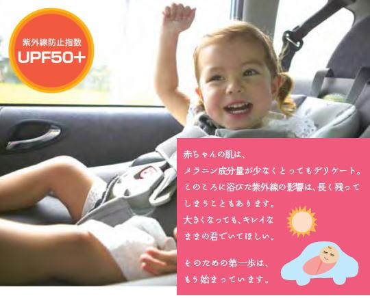 「紫外線防止指数 UPF50+」 赤ちゃんの肌はとってもデリケート。このころに浴びた紫外線の影響は、長く残ってしまうこともあります。大きくなってもきれいなままの君でいてほしい。そのための第一歩はもう始まっています。