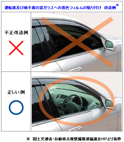 運転席及び助手席窓ガラスへの着色フィルムの貼り付け 不正改造例
