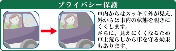 プライバシー保護-車内からはすっきり外が見え、外からは車内の状態をのぞきにくくします。さらに、見えにくくなるため車上荒らしから車を守る効果もあります。